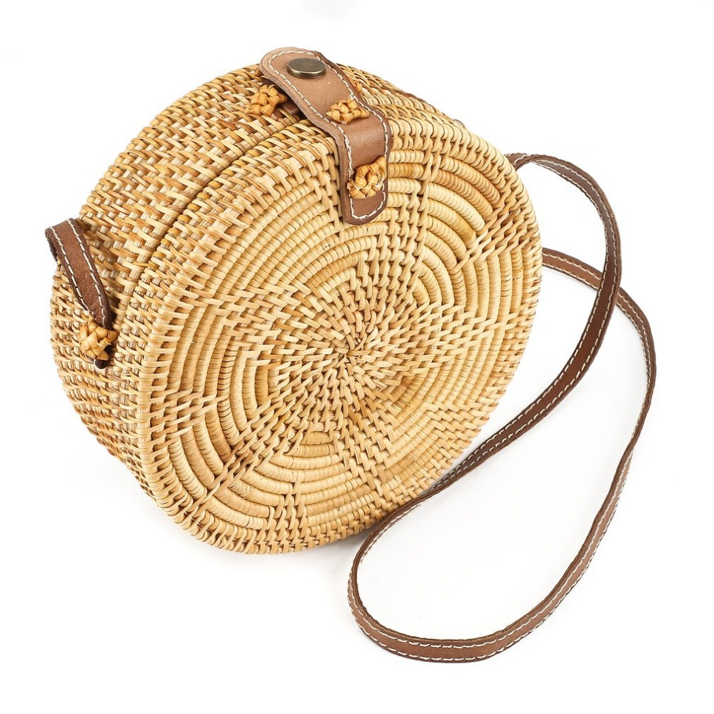 Women Bali Beach Bag Five-star Pattern Buckle Round Circle Rattan Straw Beach Shoulder Bag For Women cute doughnut pattern beach towel for women