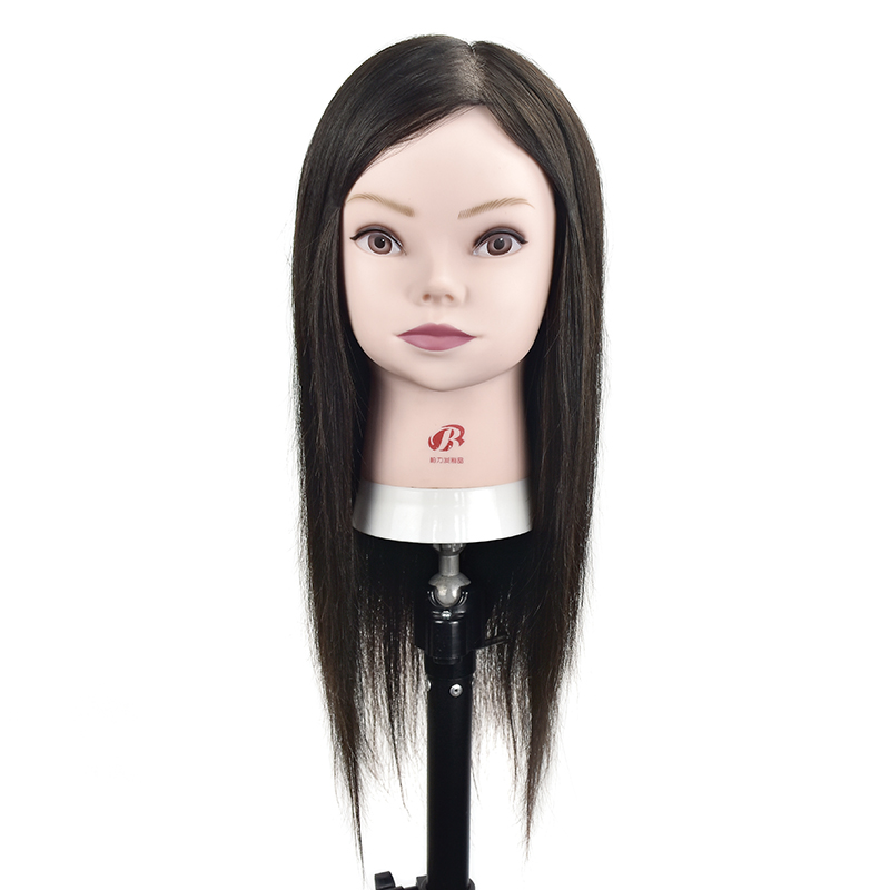 Wholesale Real Human Hair Mannequin Training Head can Be Curled Wig Head With Human Hair Hairdressing Training Head graceful short side bang fluffy natural wavy capless human hair wig for women