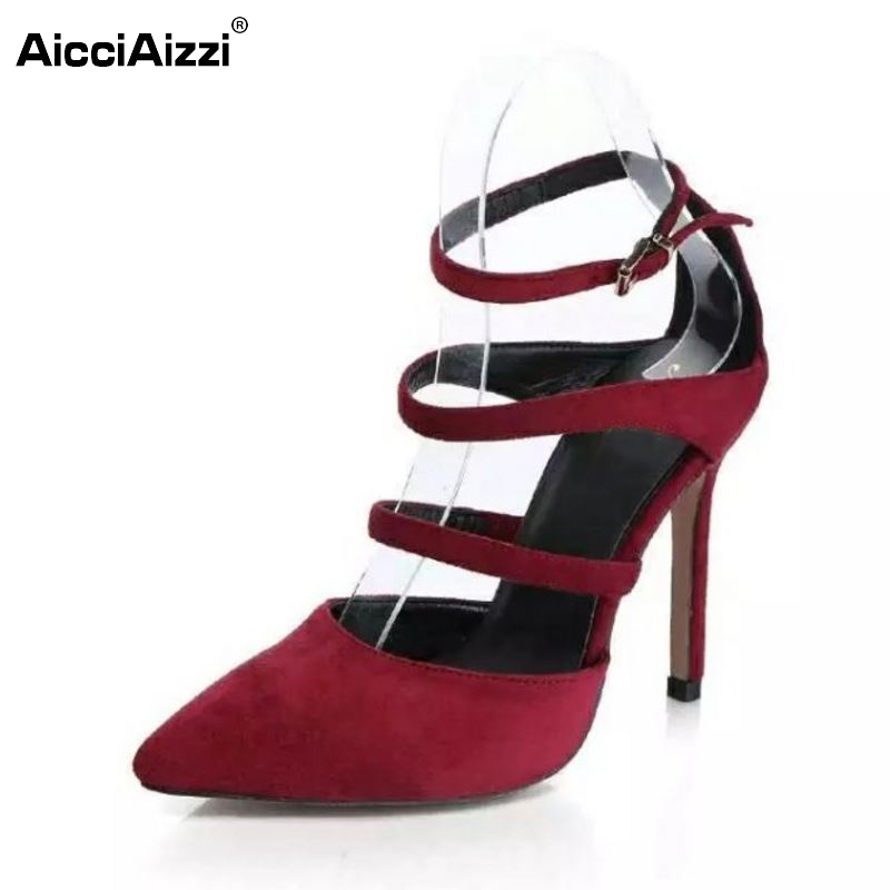 Sexy Lady High Heel Sandals Women Ankle Strap Pointed Toe Thin Heels Sandal Elegant Female Party Wedding Heeled Shoes Size 35-39