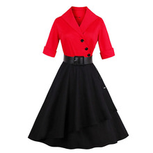 Sisjuly Women's Vintage Dress 2017 Red Black Short Sleeve Patchwork A-Line Knee-Length With Sashes Audrey Hepburn Party Dresses