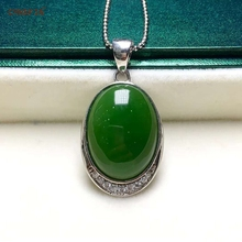 Certified Natural Hetian Jasper Inlaid 925 Sterling Silver Handmade Lucky Jade Pendant Ice Green High Quality Wonderful Gifts