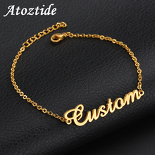 Atoztide Personalized Custom Name Bracelet For Women Stainless Steel Charms Handmade Engraved Handwriting Love Bangle Gift