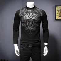 2019 New High Quality Animal Print Mens T Shirt Casual Long Sleeve Camisetas Hombre Embroidery Male T Shirts Plus Size Harujuku