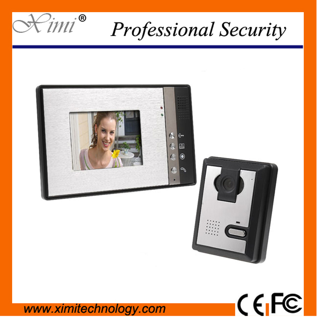IR camera door access control wired door bell door intercom 7 TFT color screen fashionable Handsfree intercom video door phone 7 inch password id card video door phone home access control system wired video intercome door bell