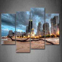 4 Panels Unframed Wall Art Pictures Chicago Trunk Beach Buildings Canvas PrintCity Posters No Frames For Living Room