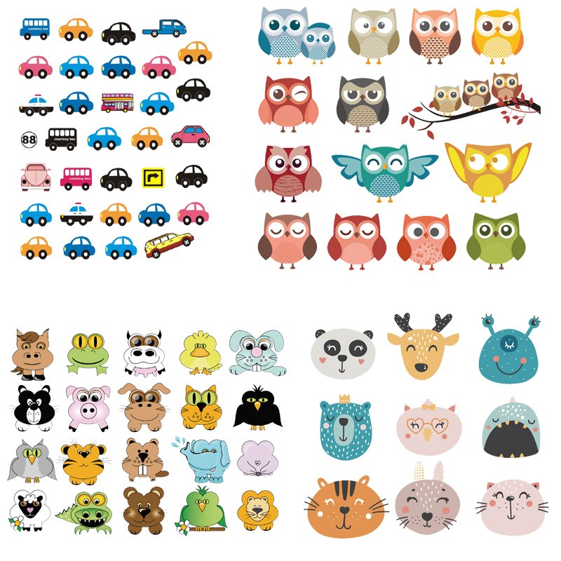 Set of Patch Iron on Clothes Cute Animal Cars Clothing Deco New Design Diy Accessory Heat Transfer Washable Badges Patch Print E in Patches from Home Garden