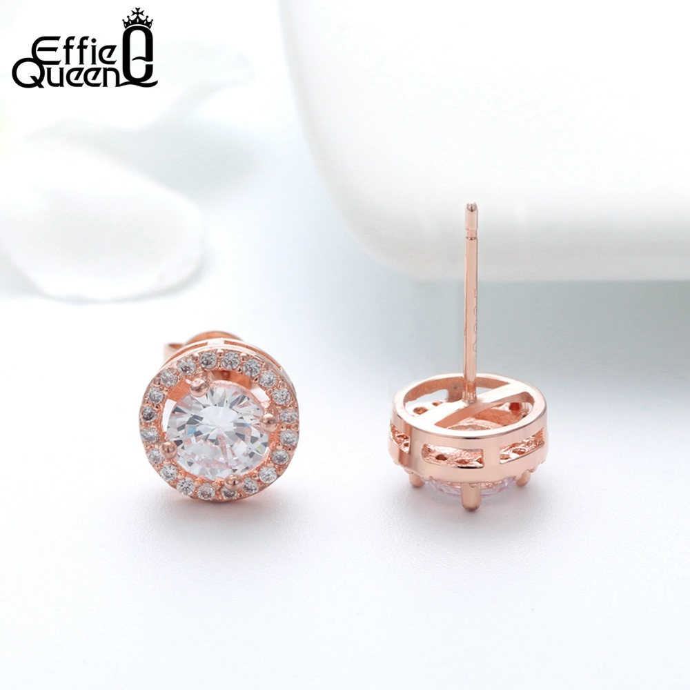 Effie Queen Women Örhängen 0.75ct CZ Zircon Crystal Stud med Runda - Märkessmycken - Foto 4