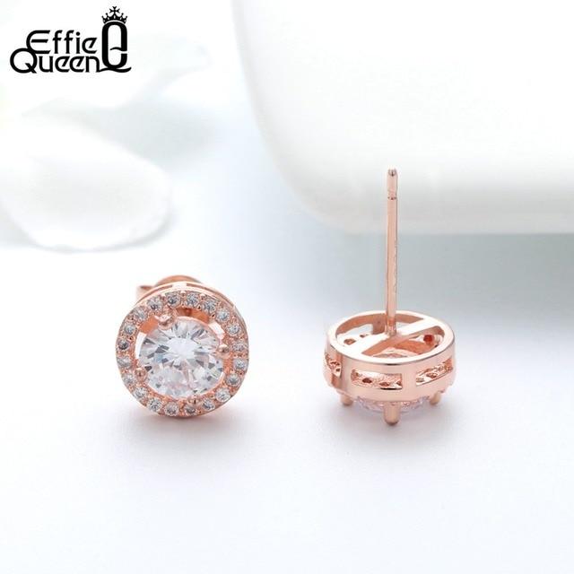 Effie Queen Women Stud Earrings AAA CZ Zircon Crystal Stud With Round Yellow Clear Color Stone Small Earring Girl Jewelry DE104