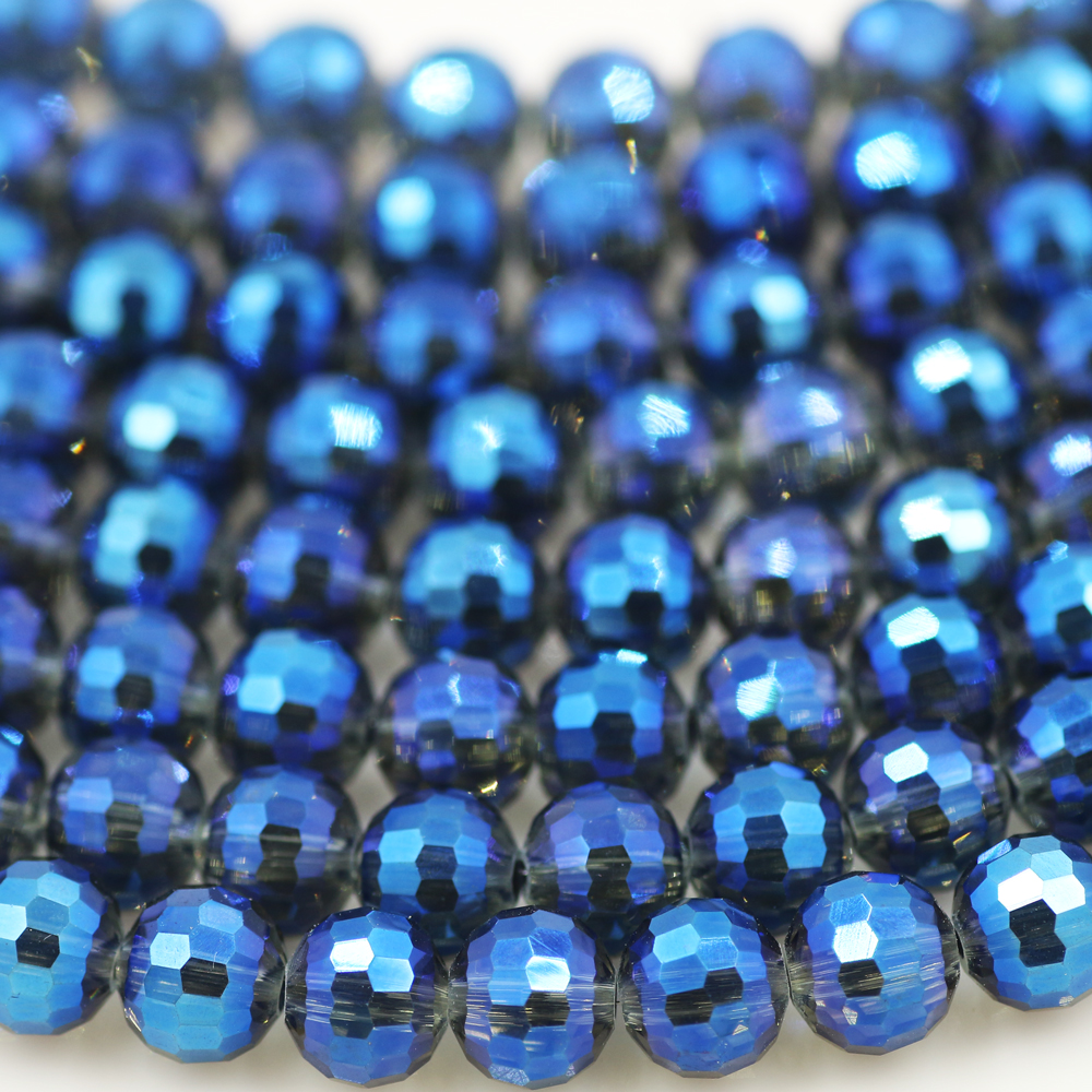 Faceted Round Drop Beads 12 x 8mm Dark blue 55 Czech Crystal Glass A.B Pcs