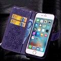 Colorido durable flip case lujo pu billetera de cuero de la contraportada para iphone 4 4S 5S se 6 6 s 6 plus 7 7 más soporte de la tarjeta de alambre Starp