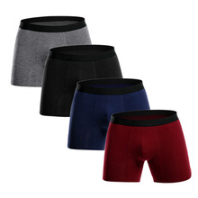4Pcs / lot Ерлер Boxer Long Underwear Мақта Адам Шорт Breathable Шорты Боксшылар Гей киім-кешек cueca боксшы Underpaints Male