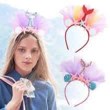 ncmama Boutique Hairband for Girls Organza Starfish Mermaid Hair Hoop with Glitter Ear Hair Band Birthday Party Hair Accessories ncmama crystal