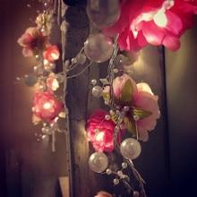 2 м 20led Свадебные сказочные огни жемчужные цветочные украшения светодиодные садовые гирлянды для праздников, рождественских праздников, украшения для домашнего освещения