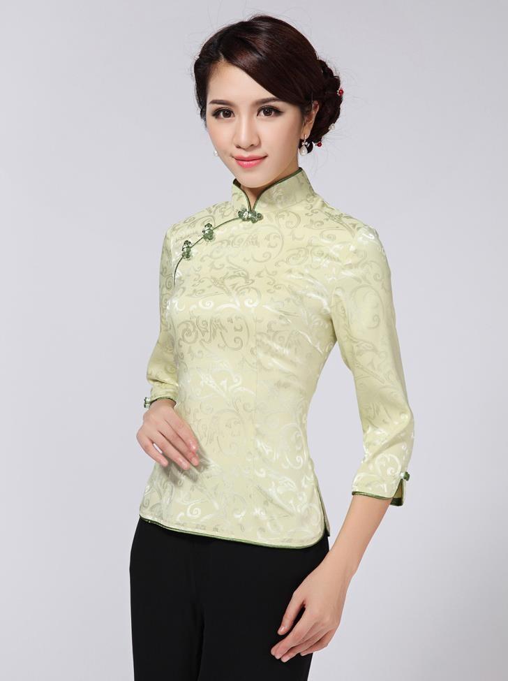 38b6ae05f Light Green Chinese Vintage Women's Cotton Shirt Mandarin Collar Blouse  Flowers Tang Suit Top Size S M L XL XXL XXXL NS-20