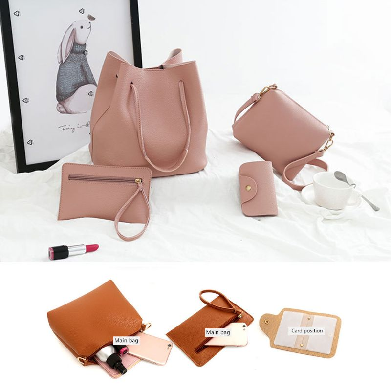 4PCS Set Women Lady Leather Handbag Shoulder Bags Tote Purse Messenger Satchel in Shoulder Bags from Luggage Bags