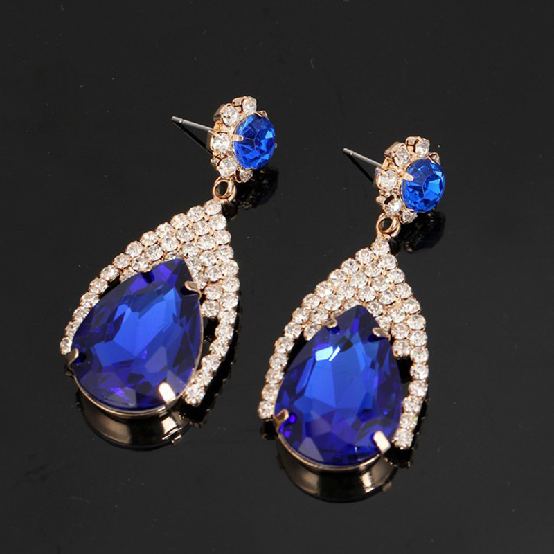 2015  jewelry products free shipping shiny crystal rhinestone gold plating drop earrings for women #E133
