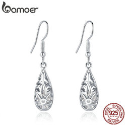BAMOER 2 Colors 925 Sterling Silver Droplets Geometric Simple Openwork Drop Earrings for Women Authentic Silver Jewelry SCE467