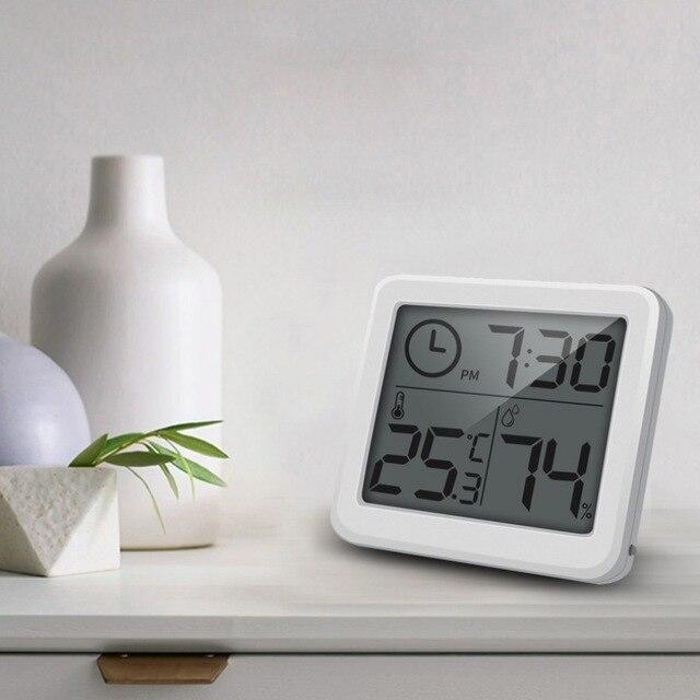 3 2 Polegada Display LCD Alimentado Por Bateria Despertador Term metro Higr metro Indoor Termo higr
