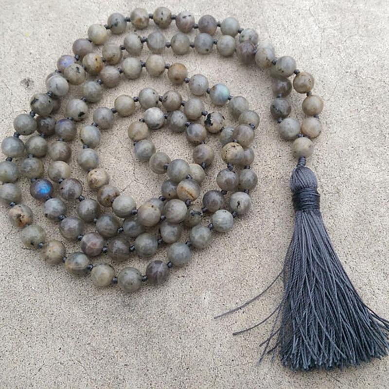 8mm Labradorite Stone Grey Tassel Traditional Hand Knotted 108 Bead Meditation Mala Necklace Crown Yoga Reiki