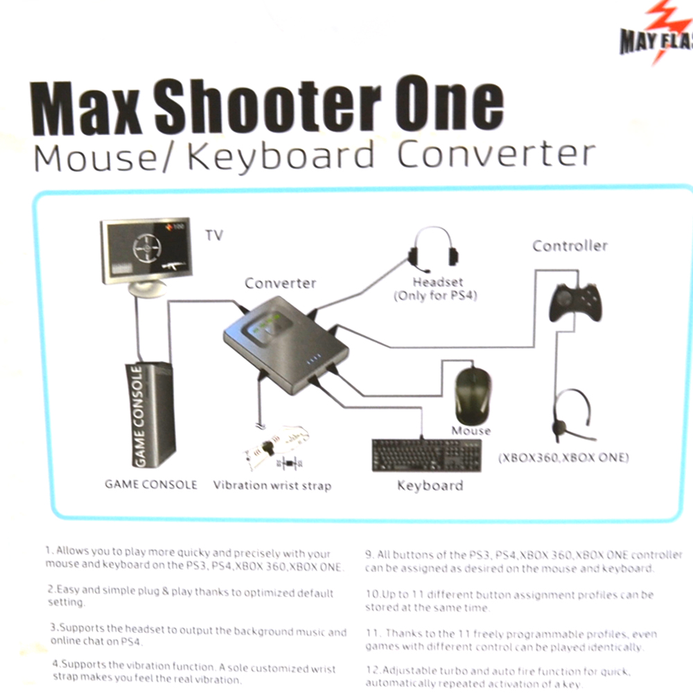 High quality 8in1 Max Shooter ONE Mouse/Key board Converter adapter for  Xbox one/PS4/PS3/XBOX 360 Voice Promp tvibration-in Replacement Parts &