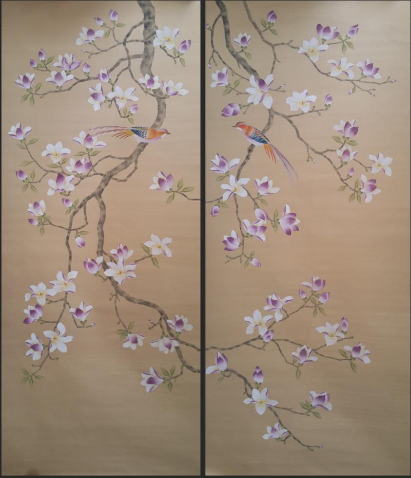 Unique Luxurious And Elegant Hand Painted Silk Wallpaper HAND PAINTED Painting Magnolia Flower Wallcovering Many Pictures Option In Wallpapers From Home