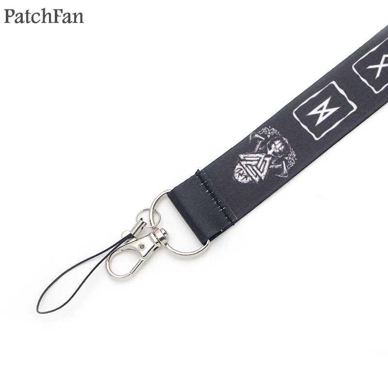 A0314 Patchfan Più Nuovo Vichingo Simbolo Cordino per Telefoni Chiave USB Flash Drive Keys Portachiavi ID Nome Tag Badge Titolari di Nastri E Fettucce