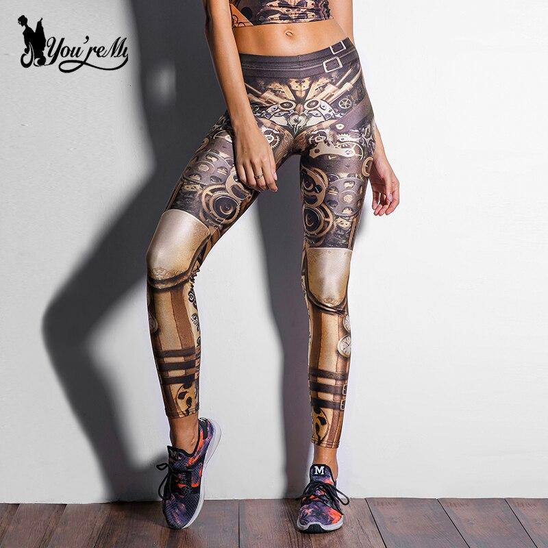 [Sei Il Mio Segreto] Disegno di Modo Steampunk Donne Pant Star Guerre leggins A Vita Alta Mechanical Gear 3d di Stampa leggings per Le Donne