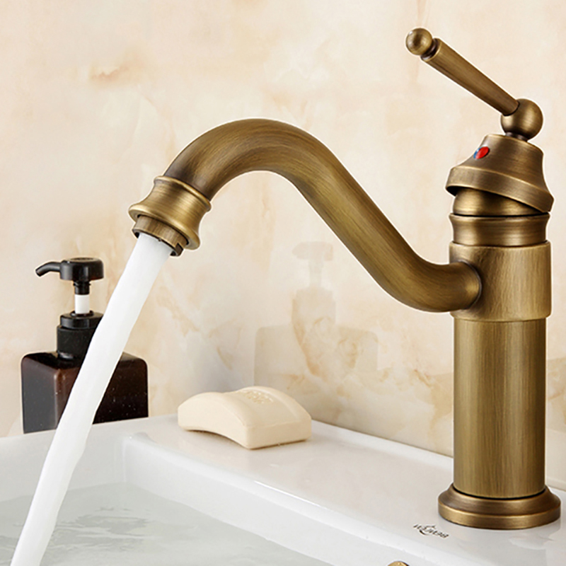 Antique Brass Single Handle Bathroom Basin Faucet Vanity Sink Mixer Tap Single Hole KD719Antique Brass Single Handle Bathroom Basin Faucet Vanity Sink Mixer Tap Single Hole KD719