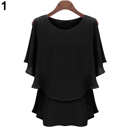9b4ddb7367bb42 New Women's Fashion Chiffon Shirt Summer Lotus Sleeve Double Layer Tops  Blousea-in Blouses & Shirts from Women's Clothing on Aliexpress.com |  Alibaba Group