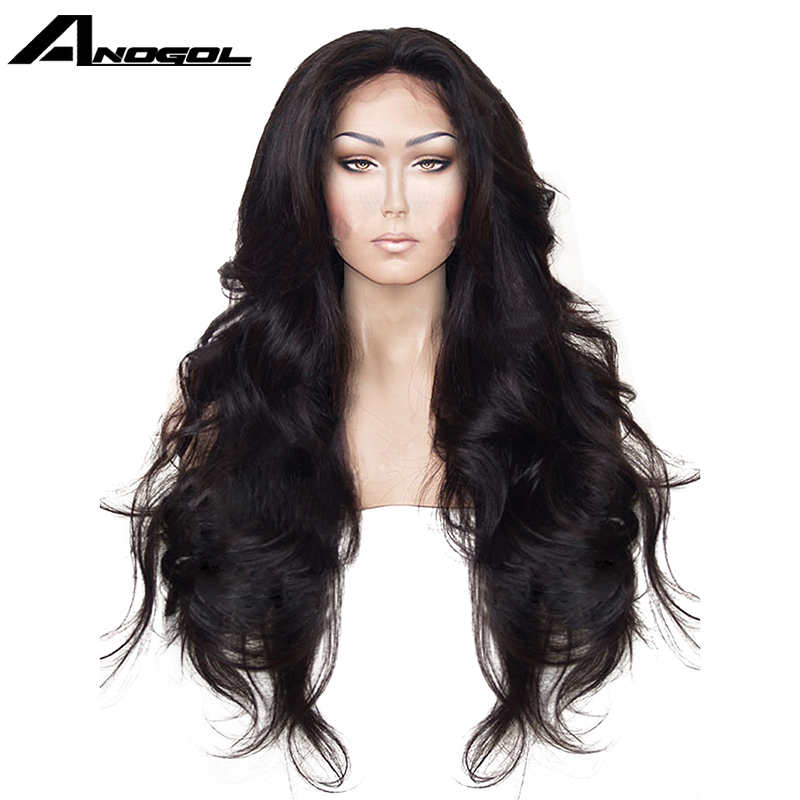 Anogol High Temperature Fiber Hair Natural Hairline Glueless Long Body Wave 1B Black Synthetic Lace Front Wig with Middle Part