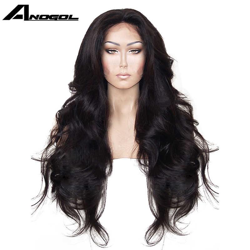 Anogol Hohe Temperatur Faser Haar Natürlichen Haaransatz Glueless Lange Körper Welle 1B Schwarz Synthetische Spitze Vorne Perücke mit Mittelteil