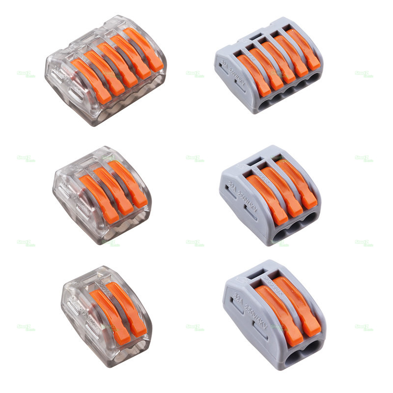 Free Shipping Wago Type Wire Connector 222 Series 10PCS Cage Spring Universal Fast Wiring Conductors Terminal Block 10pcs lot 5set t type red soft fast electric wire connecting terminal without breaking line connector non destructive connector