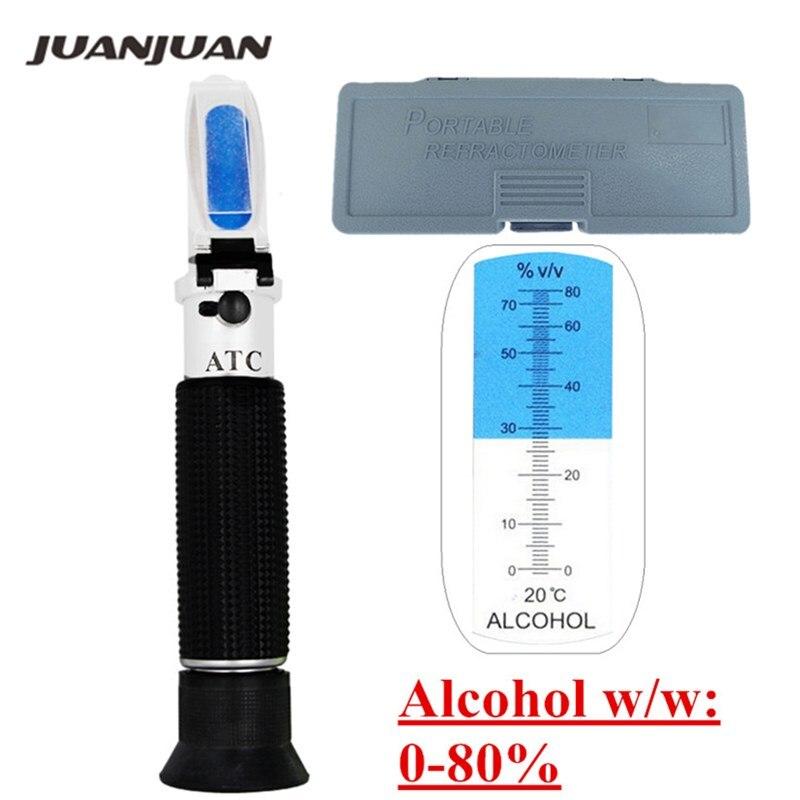 Boîte au détail D'alcool testeur réfractomètre Vin concentration détecteur 0-80% mètre d'alcool oenometer 44% off