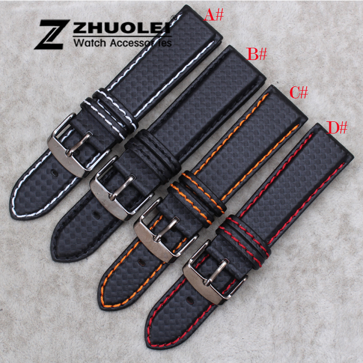 New 18mm 20mm 21mm 22mm 23mm Durable Orange Stitching Carbon Fiber Mens Black Genuine Leather with black clasp Watch Band Strap