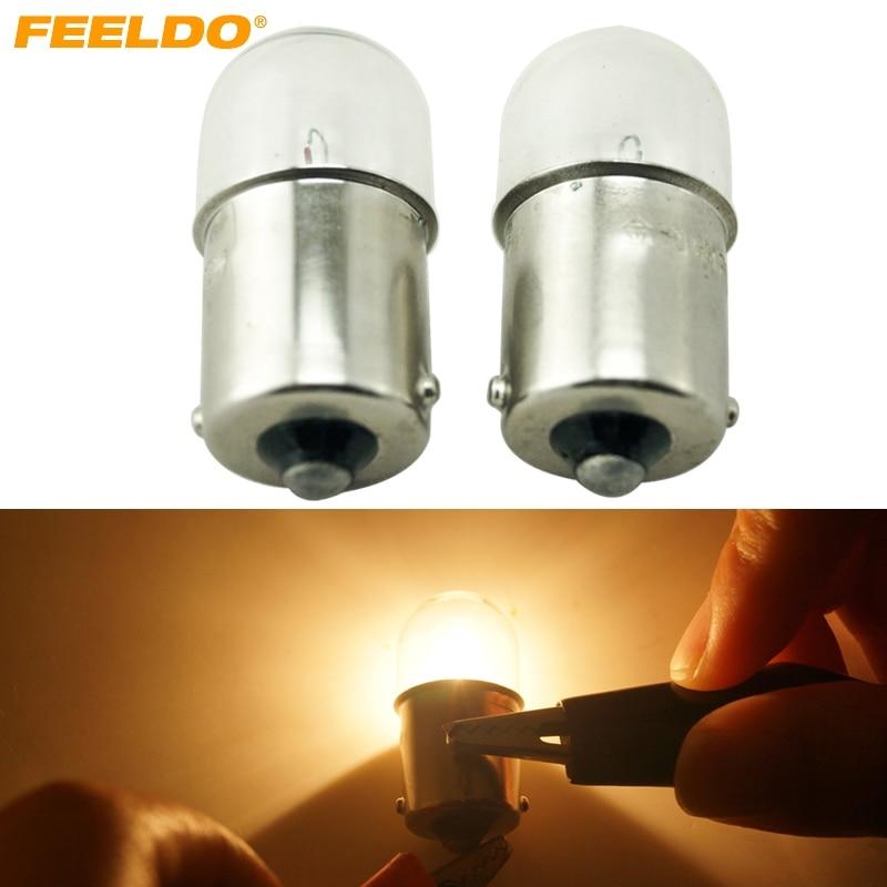FEELDO 10pcs T1614 T16 24V5W BA15S 1156 Truck Clear Glass Lamp Turn Tail Bulb Auto Indicator Halogen Lamp #HQ3163