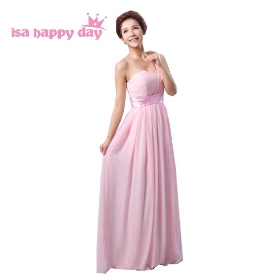 fashion ladies elegant long sexy line one shoulder pink chiffon dress women evening party big size women formal dresses H689