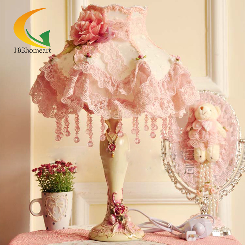 HGHomeart fashion lace table lamp rustic fabric  princess room lamps pink bedside Light  lace  bedroom european style garden princess bedroom bedside lamp shade cloth fabric floral lace crystal simple dimmable