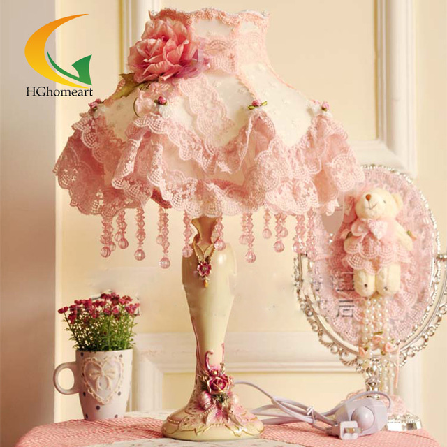 HGHomeart Fashion Lace Table Lamp Rustic Fabric Princess Room Lamps Pink  Bedside Light Lace Bedroom