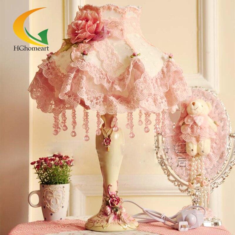 AgréAble Hghomeart Mode Dentelle Lampe De Table Tissu Rustique Princesse Chambre Lampes Rose Chevet Lumière Dentelle Chambre Distinctive Pour Ses PropriéTéS Traditionnelles