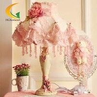 Hghomeart модные настольная лампа деревенский ткань принцесса номер лампы розовый прикроватный свет Кружева Спальня