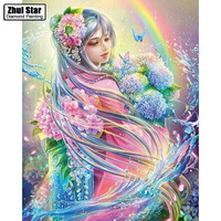 5D DIY Diamond Embroidered Acupuncture Cross Stitch Flower Fairy Diamond Art Wall Photo Christmas Decorative Gift