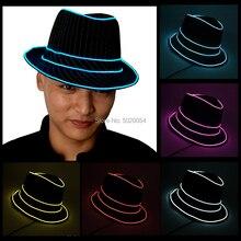 Unisexe femmes hommes rayé éclairage Topper Fedora EL fil chapeau Trilby Gangster LED casquette été Gentleman chapeau pour la Performance de scène