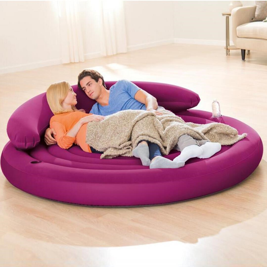 high grade flocking back round sofa leisure double inflatable sofa bed new round bed with pillow. Black Bedroom Furniture Sets. Home Design Ideas