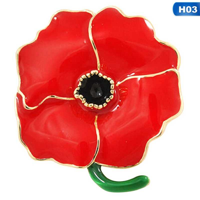 Women Men Enamel Brooch Red Poppy Flower Lapel Pin Brooches Pins Gifts  Collar Pins Badge Accessories Rhinestone Jewelry