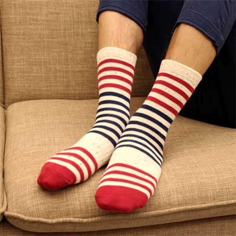 Mantieqingway High Quality Striped Printed Cotton Socks for Mens Business Dress Casual Socks for Wedding Party Long Tube Sock