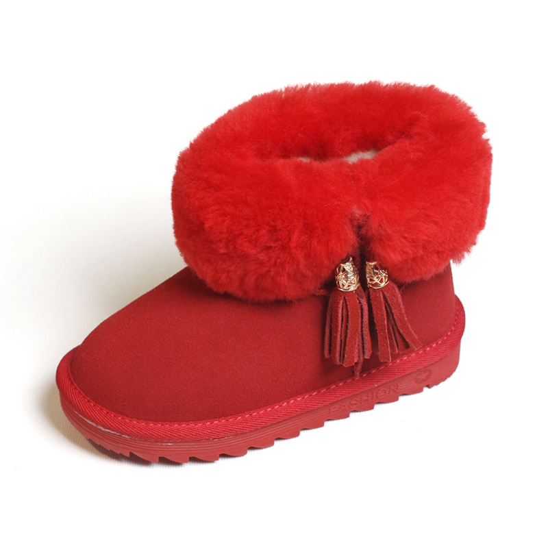 NEW winter warm plush Girls Shoes Fashion Genuine Leather Children snow boots Princess Kids Christmas gifts casual tassel shoe 2016 new winter kids snow boots children warm thick waterproof martin boots girls boys fashion soft buckle shoes baby snow boots