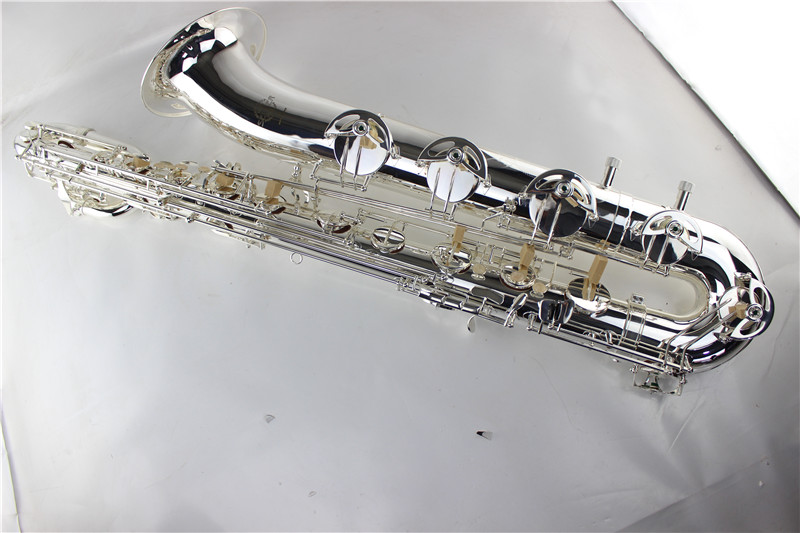 Bb Silver Curved Soprano Saxophone Silver Plated Finish Soprano Sax With Case Mouthpiece Woodwind instruments bb f tenor trombone lacquer brass body with plastic case and mouthpiece musical instruments