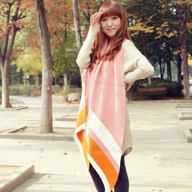 2013 female ultra long thermal yarn scarf color block decoration cape moonlight