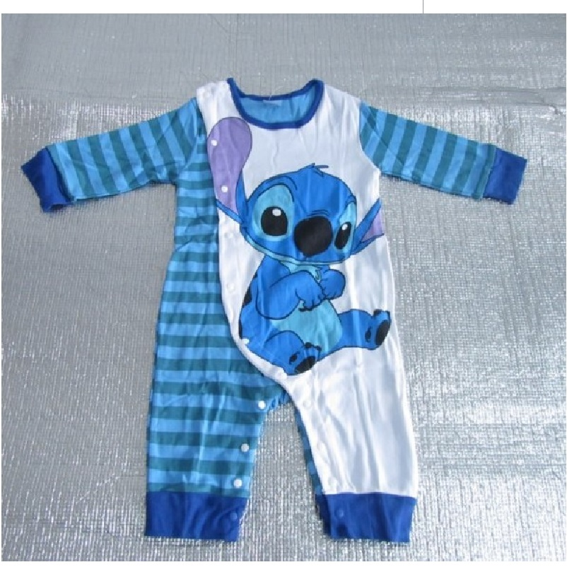 Blue stitch baby clothes long sleeve romper free shipping baby boy clothes roupas de bebes