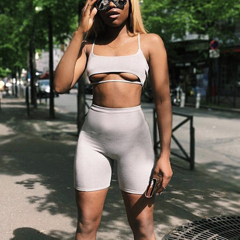 NewAsia 2 Layers Sexy Two Piece Set Top And Pants 2 piece Set Women Shorts Crop Top Summer sets Plus Size Tracksuit Women 2018